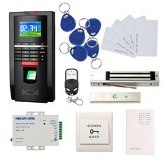 Bio Fingerprint Reader and RFID Card Door Access Control System & Time Attendance Kits 600 LBS Force Magnetic Lock 110V Power Unit
