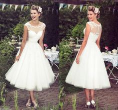 Cheap dress zara, Buy Quality dress patterns evening gowns directly from China gown slip Suppliers: 2016 New Collection Vintage Ivory Lace Tea Length Wedding Dress Sheer Neck Capped Sleeves Custom Plus Size Bride Bridal Gown Ivory Lace Wedding Dress, Sheer Wedding Dress, Lace Bride, 2016 Wedding Dresses, Wedding Dresses Plus Size, Bridal Dresses, Dresses 2016, Dresses Online, Wedding Dresses Simple Short