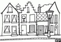 Colorear Casas adosadas en una calle de un pueblo o ciudad