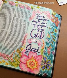 Tiffany's Garden Paper Crafts, Digital Stamps, Hand Made Cards, Country Living: Ruth - Bible Art Journaling with Colored Pencils. This is gorgeous! Scripture Art, Bible Art, Bible Verses, Faith Bible, My Bible, Bible Study Journal, Art Journaling, Devotional Journal, Nature Journal