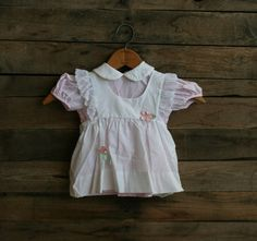 Vintage Children's White & Pink Pinstripe Floral Dress by vintapod