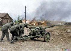 German soldiers prepare a 5 cm Pak 38 (L/60) anti-tank gun for action in the outskirts of Stalingrad. Near Stalingrad (now, Volgograd), Volgograd Oblast, Russia, Soviet Union. September 1942.