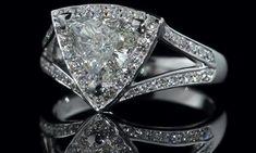 Engagement Ring - Trillion Diamond Halo Engagement Ring  Pave Split Band