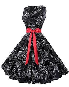 846c6e0fd8cd Anni Coco Women's Classy Audrey Hepburn 1950s Vintage Rockabilly Swing Dress  at Amazon Women's Clothing store. 50s ...