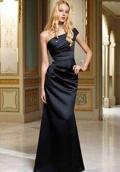 Mermaid One Shoulder Satin Natural Waist Floor Length Bridesmaid Gowns - Angeldress.co.uk