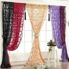 Beaded Curtains Doorway, Hanging Drapes, Curtain For Door Window, Tulle Curtains, Elegant Curtains, Green Curtains, Custom Curtains, Door Curtains, Room Window