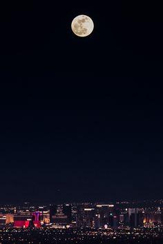 moon and city lights