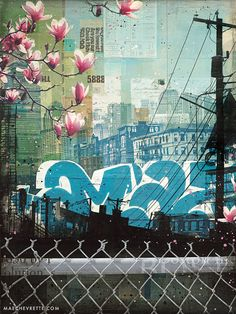 Amaze paper print Boston skyline collage art by maechevrette Mix Media, Collages, Collage Techniques, Collage Art Mixed Media, A Level Art, Encaustic Art, Art Journal Pages, Illustrations, Teaching Art