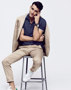 J.Crew men's Italian chino Ludlow suit, slim tipped polo and Adidas® Stan Smith™ sneakers. (June 2015)