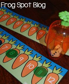 Carrot Crunch Easter Activity.Use mini carrot containers to pop two dices inside, shake it and see the numbers they display. Add 2 dice numbers to point out the correct carrot with the same number. http://hative.com/fun-easter-activities-and-games-for-kids/