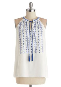 Balos Lagoon Top - Sheer, Woven, Mid-length, White, Blue, Embroidery, Casual, Boho, Vintage Inspired, 70s, Festival, Sleeveless