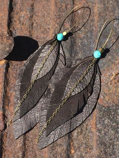 Layered Rich brown leaf shaped leather earrings by thegivehandmade