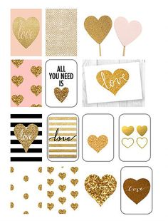 FREE DOWNLOAD Gold Glitter Hearts @ Traceyplans