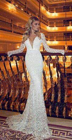 Mermaid Wedding Dress With Long Sleeves Illusion Designer 2017 Sexy Deep V Neck…