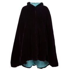 Pre-owned Jean Paul Gaultier Vintage velvet hooded cape ($3,870) ❤ liked on Polyvore featuring outerwear, cape coat, faux-fur cape, vintage cape coat, vintage fur cape and faux fur cape