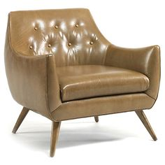 Marley Tufted Chair, Camel Leather $1,895.00