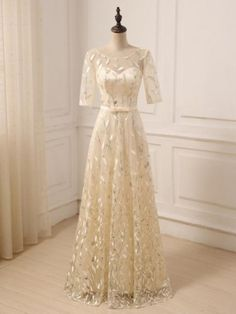 Silver Leaf Lace Appliques Scoop Neck Three Quarter Sleeves Floor Length A-Line Dress at A Discount 2015 Wedding Dresses, Bridal Dresses, Mother Of The Bride Gown, Lace Outfit, Long Sleeve Wedding, Lace Applique, Evening Gowns, Designer Dresses, Vintage Dresses