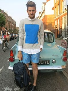 Henry Holland is wearing a Richard Nicoll shorts and jumper combo and a COS white shirt, with a Prada backpack and LANVIN shoes Prada Backpack, Henry Holland, Metro Style, Guys Be Like, Spring Looks, Fashion Photo, Style Icons, Spring Fashion, Street Style