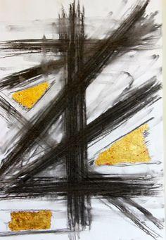 Het zwarte goud, houtskool en bladgoud. Rudy Synaeve, Art generations 2014