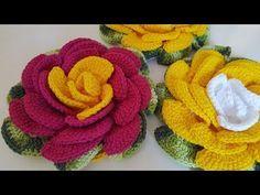 Mega Rosa com Confecção e Aplicação de Folhas #JuhCrochê - YouTube