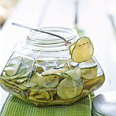 Crunchy Homemade Pickling Recipes ..Bread-and-Butter PicklesThis easy pickle recipe yields lots of cucumber pickles to keep on hand for picnics or snacks. Try them on sandwiches or burgers, as a complement to field peas, or as a snack with whole-grain mustard, cheddar cheese, and crackers. Thin-skinned pickling cucumbers are essential.