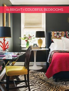 Eye Candy: 10 Bold, Colorful Master Bedrooms 10 Bold, Colorful Master Bedrooms – I especially like idea in utilizing a colorful quilt over the headboard instead of on the foot of the bed! Bedroom Colors, Home Decor Bedroom, Bedroom Ideas, Bedroom Interiors, Colourful Bedroom, Colorful Rooms, Interior Exterior, Interior Design, Eye Candy