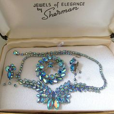 When you want the best in bling costume jewelry - Gustave Sherman Parure Blue Necklace, Brooch and Earrings - In Original Box!