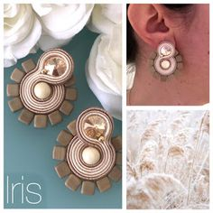 Veronique Creazioni Soutache Earrings, Pearl Earrings, I Love Jewelry, Jewelry Making, Earrings Handmade, Handmade Jewelry, Earring Trends, Shibori, How To Make