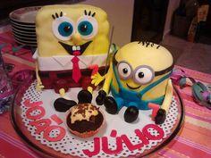 Spongebob  e minion! Ricos amigos, estes dois!! Aniversário do J&J - 7 anos!