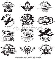 Vintage Planes Set of air force, airplane show, flying academy emblems. Design elements for logo, badge, label. Badge Design, Logo Design, Flying Academy, Flight Logo, Pilot Tattoo, Aviation Logo, Airplane Art, Airplane Design, Air Festival