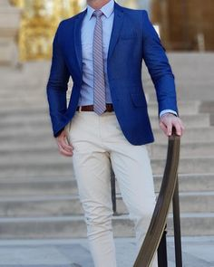 Blue Blazer with Khaki pants outfit for men. #mensfashion #menswear #suit www.tuckedtrunks.com