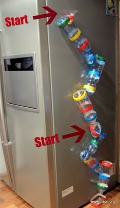This would be fun at VBS - Reminds me of a roller coaster-type ride! Awesome for science work with ramps and runs and great for the sides of filing cabinets or other metal surfaces in the classroom/ home: Marble run made from recycled bottles and magnets Projects For Kids, Diy For Kids, Cool Kids, Recycled Bottles, Plastic Bottles, Water Bottles, Bottle Candles, Toddler Activities, Preschool Activities