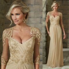 Champagne Chiffon Mother of the Bride Dress Lace Formal Evening Gowns Plus Size