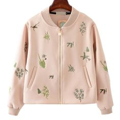 Print Baseball Jackets New Korean Female Heavy Embroidery Bomber jacket Women Casual Women Coats Spring Autumn 2016 Pink Green Coats For Women, Jackets For Women, Clothes For Women, Organza, Sweatshirt Dress, Print Jacket, Casual Fall, Jacket Style, Look Cool