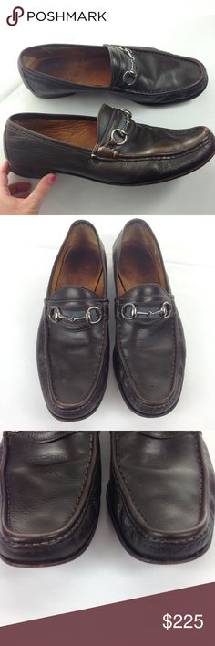 1db253999db03 Gucci Horsebit Brown Blue Leather Loafers Sz 11 Pair of men s gently  preowned Gucci Horsebit Loafers