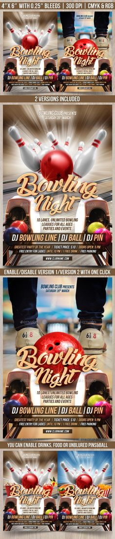 Bowling Night Flyer Fonts, Sports and Bowling - bowling flyer template