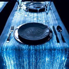 Fiber optic table runner in celestial Tardis blue for a Doctor Who wedding Star Wars Wedding, Geek Wedding, Wedding Ideas, Blue Wedding, Wedding Table, Wedding Reception, Wedding Decorations, Doctor Who Wedding, Tardis Blue