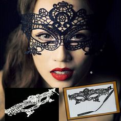 Styles Lace Supreme Funny Sexy Mask V Anonymous Lace Mask Cutout Eye Mask for Halloween Masquerade Party Fancy Dress Costume