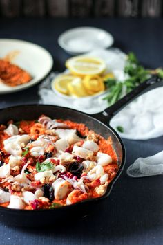 A quick pan sauteed calamari with a smokey, Spanish Red Pepper Romesco sauce, tucked in with lots of fresh vegetables.