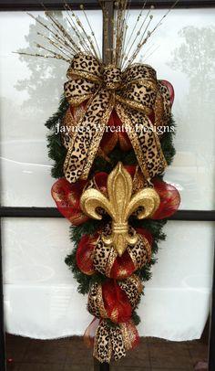 Christmas swag with fleur de lis