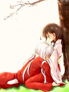 InuYasha holding Kagome who is in traditional priestess attire - InuYasha; fan art