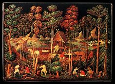 """I. I. Zubkov - """"Landscape at the mill"""". 1935, box. Palekh miniature (Russian: Палехская миниатюра) is a Russian folk handicraft of miniature painting, which is done with tempera paints on varnished articles made of papier-mâché (small boxes, cigarette and powder cases etc.). Palekh Russian lacquer art on papier-mâché first appeared in 1923 in the village of Palekh, located in the district of (Ivanovo Oblast), and is based on a long local history of icon painting..."""