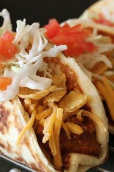Corn Chip Tacos - with the taco shells made from crescents. An easy, yummy weeknight dinner.