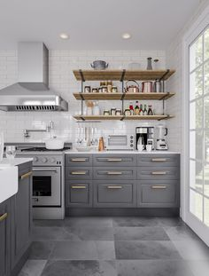 Create visual space in a cottage-inspired kitchen. Big tiles and floor-to-ceiling windows let you play with grays that might otherwise shrink the room. Accessories and appliances in a mix of copper…More Best Kitchen Cabinets, Kitchen Cabinet Remodel, Kitchen Cabinet Design, Buy Kitchen, Best Kitchen Designs, Modern Kitchen Design, Interior Design Kitchen, Simple Interior, Living Room Kitchen