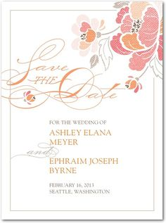 Signature white textured save the date cards, Inspired Peony