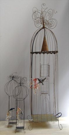 VOX POPULI wirework assemblage mixed media art bird houses for shabby chic french style decor