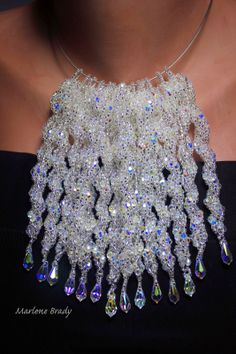 Marlene Brady.  I beaded crystal icicles for the holidays.    The free pattern is from TheBeadsKnees.