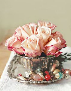 Nice patina on silver-plate bowl with pink roses and tiny ornaments... Beautiful!