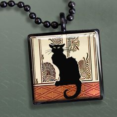 Black Gothic Cat Silver Necklace Gothic Jewelry Necklace for sale by Funeral Attire at MoreThanHorror.com