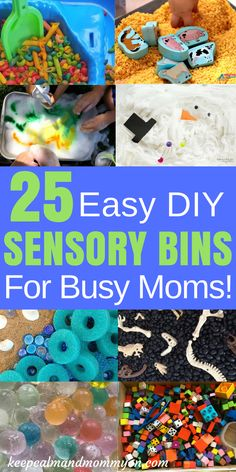25 Easy DIY Sensory Bins For Busy Moms! Sensory Bins, Sensory Bin Ideas, Sensory Activities, Sensory Activities For Toddlers, Sensory Activities For Preschoolers